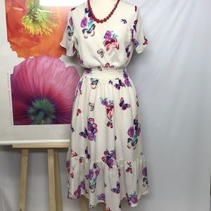 Butterflies silk dress.